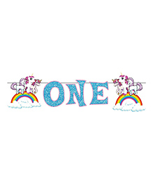 Party Propz Unicorn Themed First Birthday Party Banner - Blue