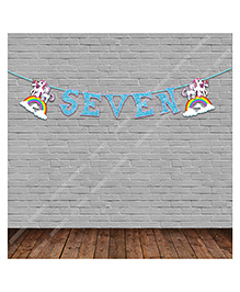 Party Propz Unicorn Themed Seventh Birthday Party Banner - Blue