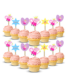 Party Propz Pig Cup Cake Topper Multi Colour - No.of Pieces 14