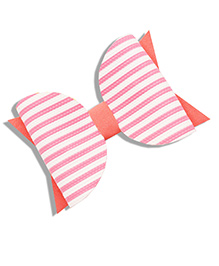 Little Tresses Striped Bow Hair Clip - Peach & White