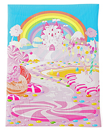 Fancy Fluff Baby Comforter Candy Land Design - Pink