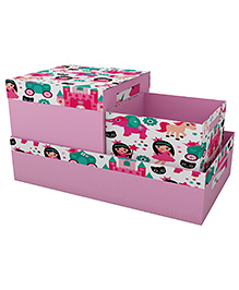 Fancy Fluff Princess Printed Storage Box Set Of 3 - Pink