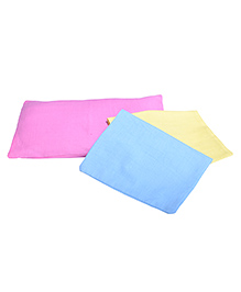 Pillow Cover Set With Fresh Mustard Seeds Filling Pack Of 3 - Pink Yellow & Blue