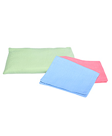MK Handicraft Pillow & Pillow Cover Set With Fresh Mustard Seeds Filling Pack Of 3 - Pink Yellow & Blue - 2247229