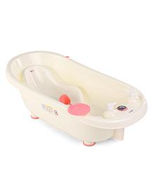 Baby Bath Tub And Bath Sling With Bathing Mug - Cream & Pink