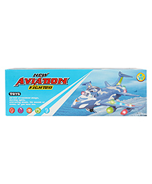 Planet Of Toys Battery Operated Fighter Plane Toy - Blue