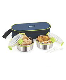 Magnus Stainless Steel Lunch Box With Case Set Of 2 - Green