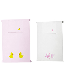 Baby Rap Princess With Ducks Crib Sheet With Pillow Cover Pack Of 4 - Pink White