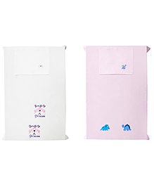Baby Rap Dino & Princess Crib Sheet With Pillow Cover Pack Of 4 - White Pink