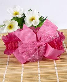 Babyhug Headband Glittery Bow Applique - Dark Pink