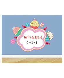 Little Jamun Cupcakes And Candies Writeable Wall Sticker With Free Marker - Multicolor