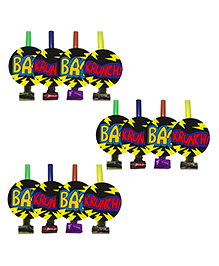 Party Propz Superhero Themed Blow Out Horns Multi Colour - Pack Of 12