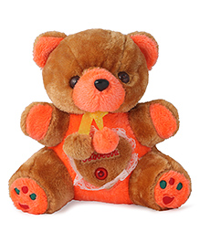 Skylofts Musical Teddy Bear With Lights Soft Toy Brown & Orange - Height 25 Cm