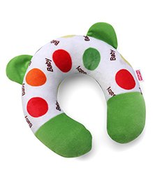 Babyhug Neck Support Pillow Polka Dot Print - Green & White