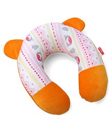 Babyhug Neck Support Pillow Bear Print - Pink & Orange