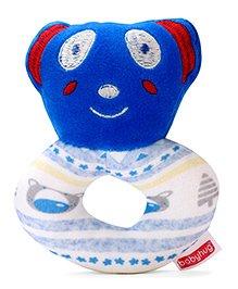 Babyhug Panda Face Rattle Cum Soft Toy Ring  - Blue & White