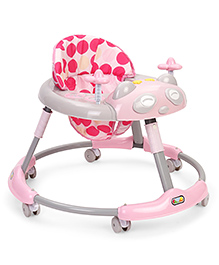 Musical Baby Walker With Play Tray Polka Dot Print - Pink