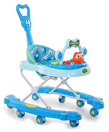 Musical Baby Walker With Parent Push Handle - Blue - 2270010