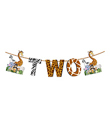 Party Propz Jungle Theme Age Two Banner - Multicolour