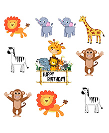 Party Propz Jungle Theme Cut Outs Multicolour - 10 Pieces