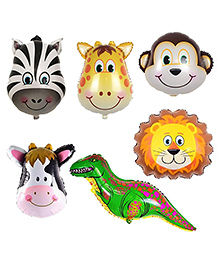 Party Propz Jungle Theme Animal Face Foil Balloon Set Of 6 - Multicolour