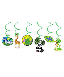 Party Propz Jungle Theme Swirl Decoration Multicolour - Pack Of 6