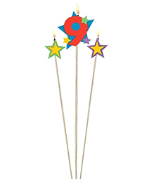 Wanna Party Number 9 Birthday Candle & Stars Multicolour - Pack Of 3