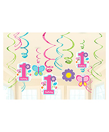 Wanna Party First Birthday Themed Swirl Decoration Multicolour - Pack Of 12