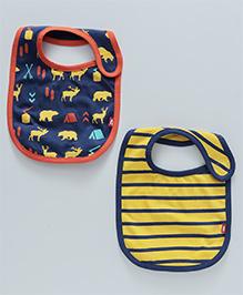 Nino Bambino Organic Cotton Bib Set Navy Blue & Yellow - Pack Of 2
