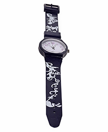 Leaf Print Analog Watch - Navy Blue