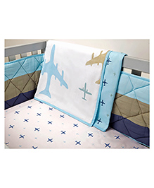 Masilo Linen For Littles Organic Dohar Blanket - White & Blue