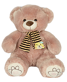 Dhoom Soft Toys Teddy With Muffler Light Brown - Height 40 Cm