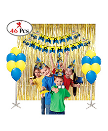 Party Propz Minion Theme Birthday Decoration Set Blue & Yellow - 46 Pieces