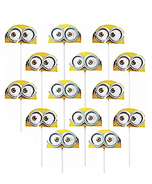 Party Propz Minions Cupcake Topper Yellow & Blue - 14 Pieces