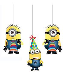 Party Propz Minions Ceiling Hanging Blue & Yellow - Pack Of 3