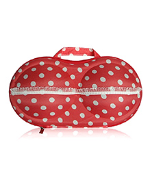 Home Union Lingerie Storage Case With Handle Polka Dot Print - Red