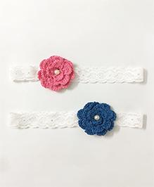 Knotty Ribbons Set Of Two Crochet Flower Headband - Pink & Dark Blue