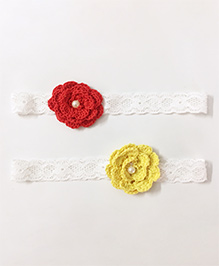 Knotty Ribbons Set Of Two Crochet Flower Headband - Red & Yellow