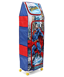 Superman 4 Shelves Storage Unit With Wheels  - Blue Red
