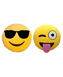 Frantic Cool Dude And Winky Smiley Plush Cushion Yellow - Pack Of 2