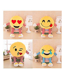 Frantic Smiley Plush Cushion With Stripe Hands And Legs Pack Of 4 - Yellow - 2297381