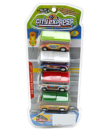 Marbles City Express Pull Back Action Bus Set Multicolor - Pack Of 4