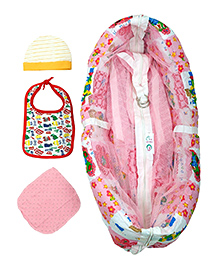 Jaze Baby Hammock With Mosquito Net And Baby Essentials - Pink