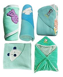 My NewBorn Premium Multipurpose Baby Wrappers Green & Blue - Pack Of 5