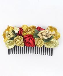 Tia Hair Accessories Rose Applique Comb - Golden
