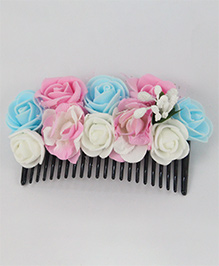 Tia Hair Accessories Rose Applique Comb Clip - Baby Pink & White