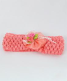 Tia Hair Accessories Rose Applique  Headband With Pearls - Peach