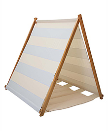 Mi Dulce An'ya Striped Cotton Tent With Rods & Matching Mat - Blue & Cream