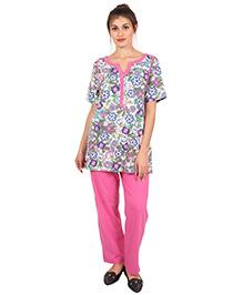 9teenAGAIN Flowers Printed Half Sleeves Nursing Night Suit - Pink