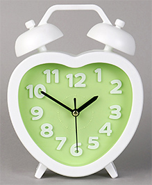 Heart Shape Analog Alarm Clock - Green White